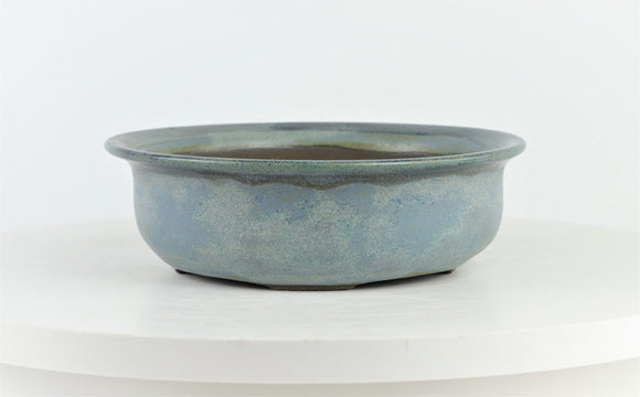 John Cole Round Glazed Blue Bonsai Pot - 7.75