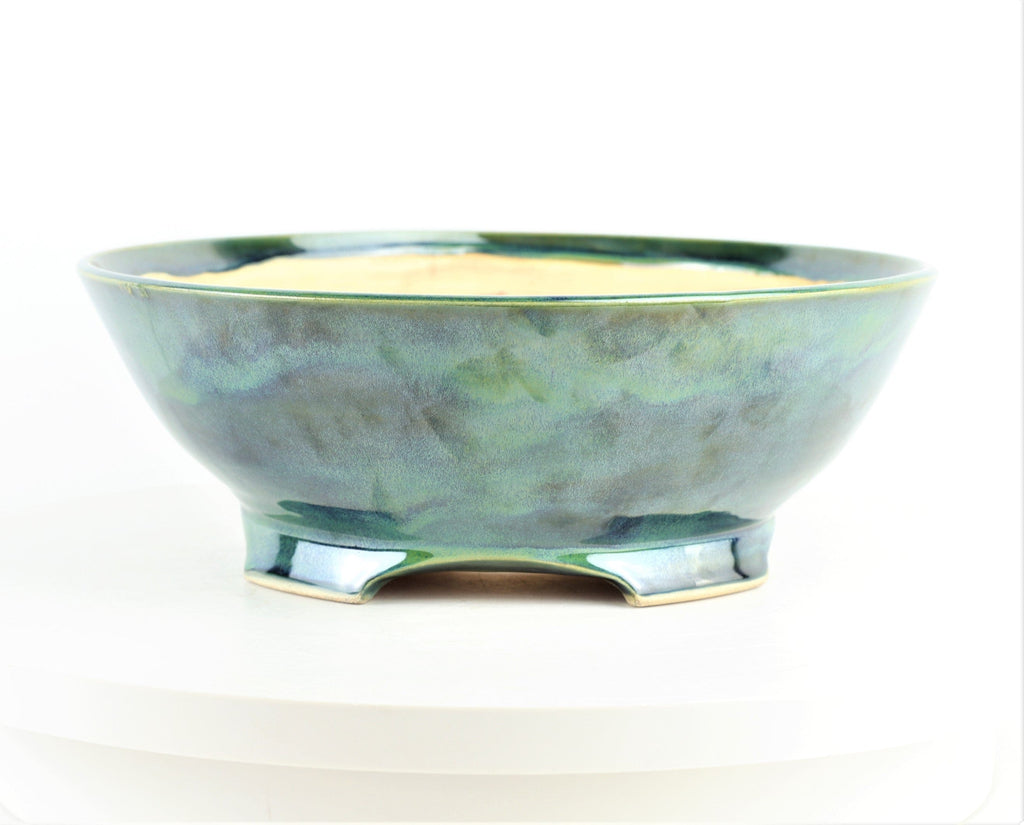 "John Cole Round Glazed Blue & Green Bonsai Pot - 10.75"" x 3.75"""