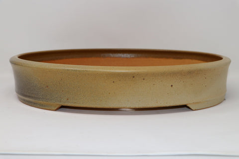 "Ron Lang Bonsai Pot - Oval - Large - Glazed - 17"" x 14"" x 3"""