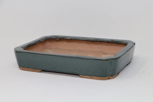 Shallow Blue Glazed Rectangle Bonsai Pot - 9