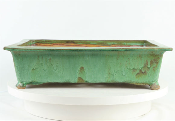 John Cole Green Rectangle Glazed Bonsai Pot - 15.5