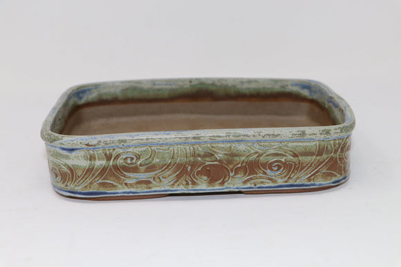 Glazed Rectangle Bonsai Pot by MC2 - 8.5