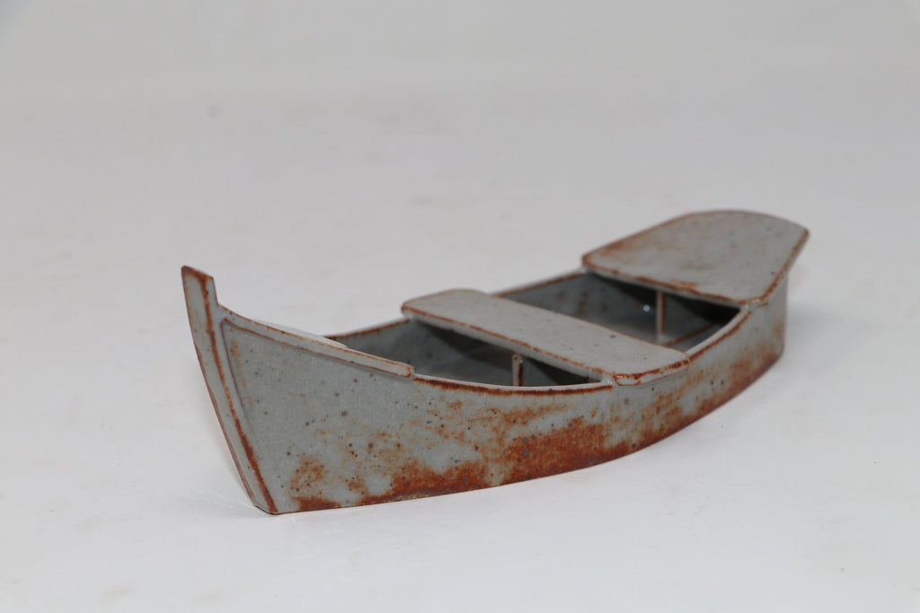 "Grey/Gray Glazed Boat Kusamono Pot - 7.75"" x 3"" x 2.5"""