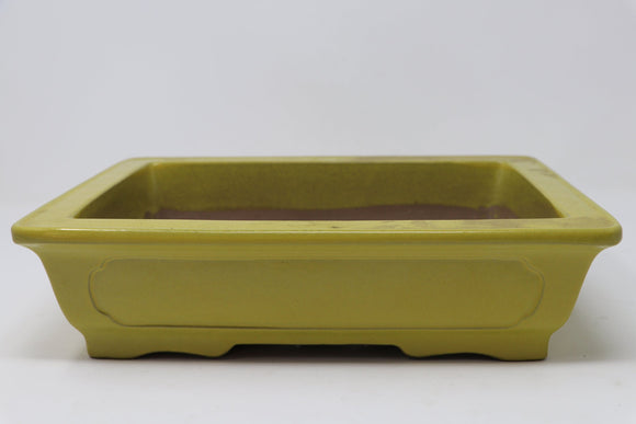 Yellow Rectangle Glazed Bonsai Pot - 12.25