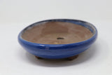 "Japanese Production Pot Blue Glazed Oval - 9.75"" x 7.25"" x 2"""