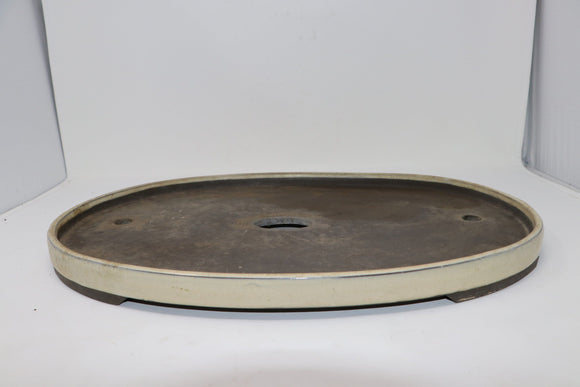 Large Shallow Oval Bonsai Pot - Cream/white - 18.75