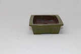 "Green Glazed Rectangle Bonsai Pot - 6.25"" x 4.5"" x 1.5"""