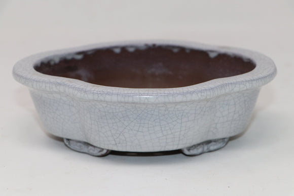 White Crackle Glazed Mokko Bonsai Pot - 7