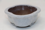 "White Crackle Glazed Mokko Bonsai Pot - 7"" x 5.33"" x 2"""