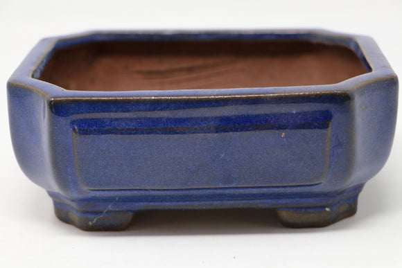 Dark Blue Glazed Rectangle Bonsai Pot - 6.25