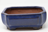 "Dark Blue Glazed Rectangle Bonsai Pot - 6.25"" x 5"" x 2.5"""