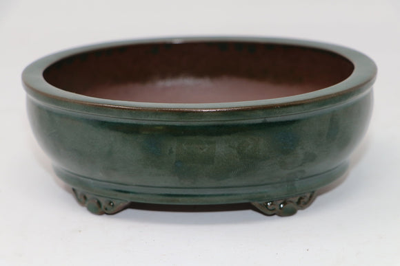 Green Glazed Oval Bonsai Pot - 6.25
