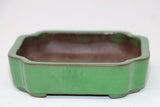 "Green Glazed Rectangle Bonsai Pot - 4.5"" x 4"" x 1.25"""