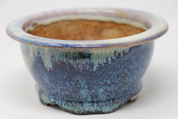 "Sam Miller Glazed Blue Round Bonsai Pot - 6.25"" x 3"""