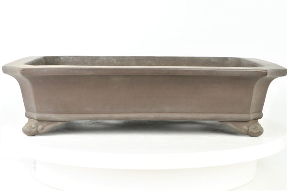 Japanese Tokoname Mitsuo Yamada Brown Fancy Rounded Rectangle Bonsai Pot - 14.25