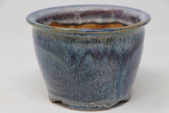 Sam Miller Glazed Blue Round Bonsai Pot - 5.5