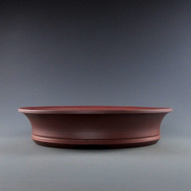 "Lynn August Red Round Bonsai Pot - Unglazed - 9.75"" x 9.75"" x 2.25"""