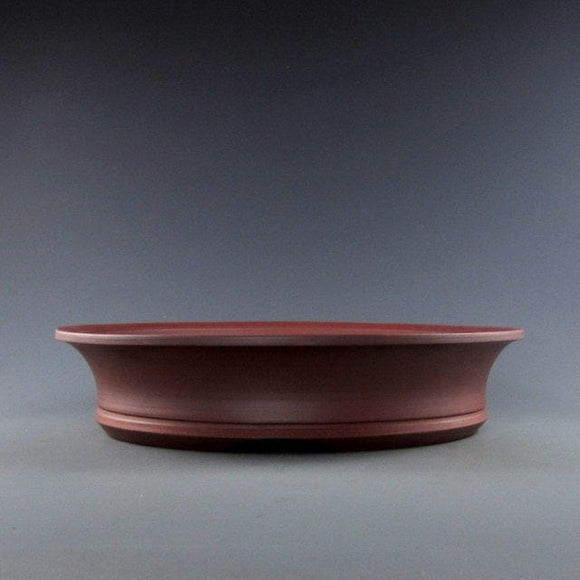 Lynn August Red Round Bonsai Pot - Unglazed - 9.75