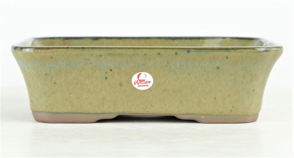 "Sky Blue/Green Small Indented Rectangle Bonsai Pot by Willow Bonsai - 7"" x 5"" x 2"""