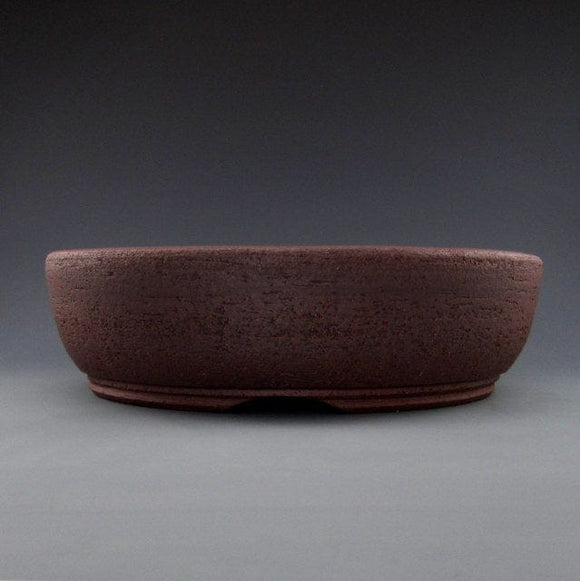 Lynn August Brown/Red Round Bonsai Pot - Unglazed - 10.5