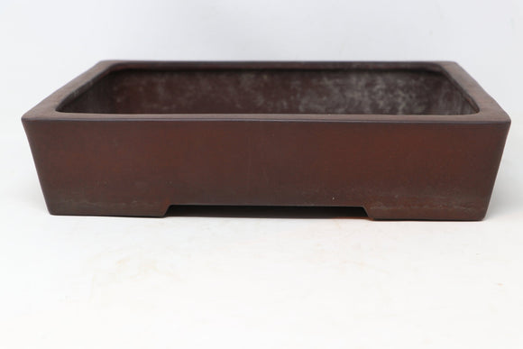 Tokoname Yamaaki Kataoka Toshio Rectangle Unglazed Bonsai Pot - 12.5