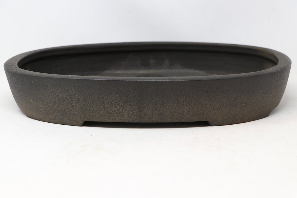 "Japanese Tokoname Koyo Brown/Grey Oval Bonsai Tree Pot - 16.5"" x 12"" x 3.5"""
