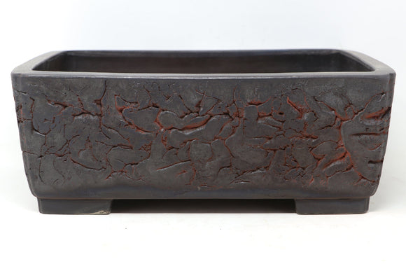 Japanese Tokoname Mitsuo Yamada Brown Rectangle Bonsai Pot - 13.5
