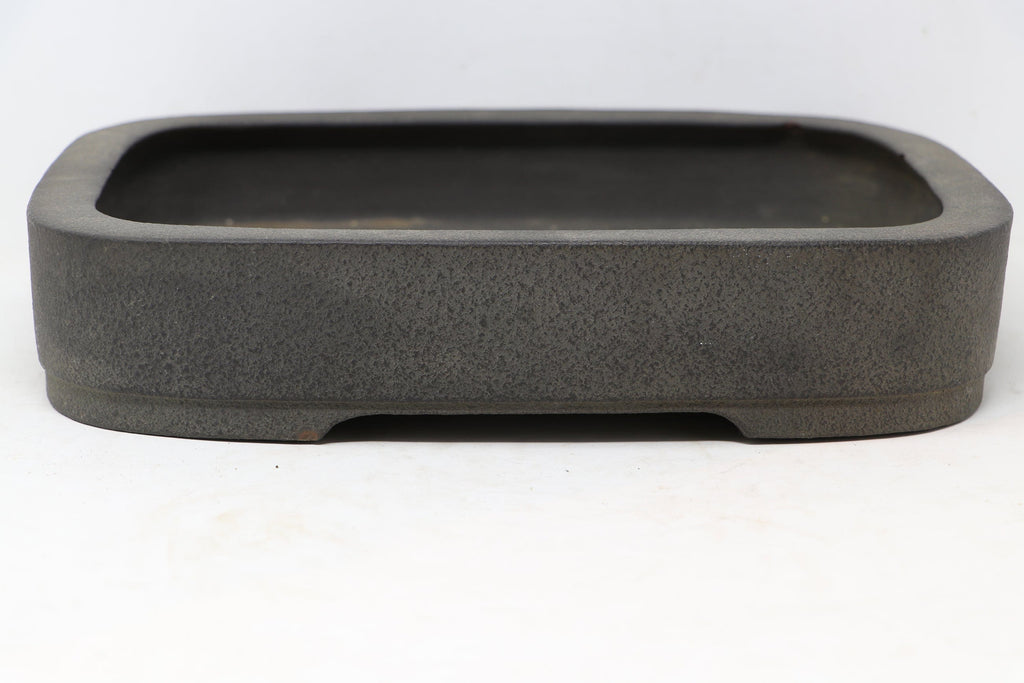 "Japanese Tokoname Shibata Keizan Brown/Grey Rounded Rectangle Bonsai Tree Pot - 11.75"" x 9.5"" x 2.5"""