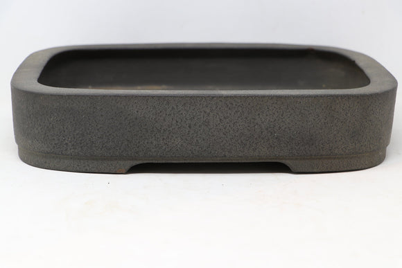 Japanese Tokoname Shibata Keizan Brown/Grey Rounded Rectangle Bonsai Tree Pot - 11.75
