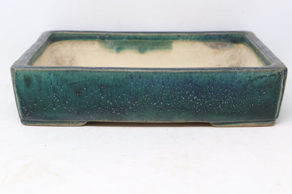 Japanese Tokoname Shuho Green Glazed Rectangle Bonsai Tree Pot - 11.25