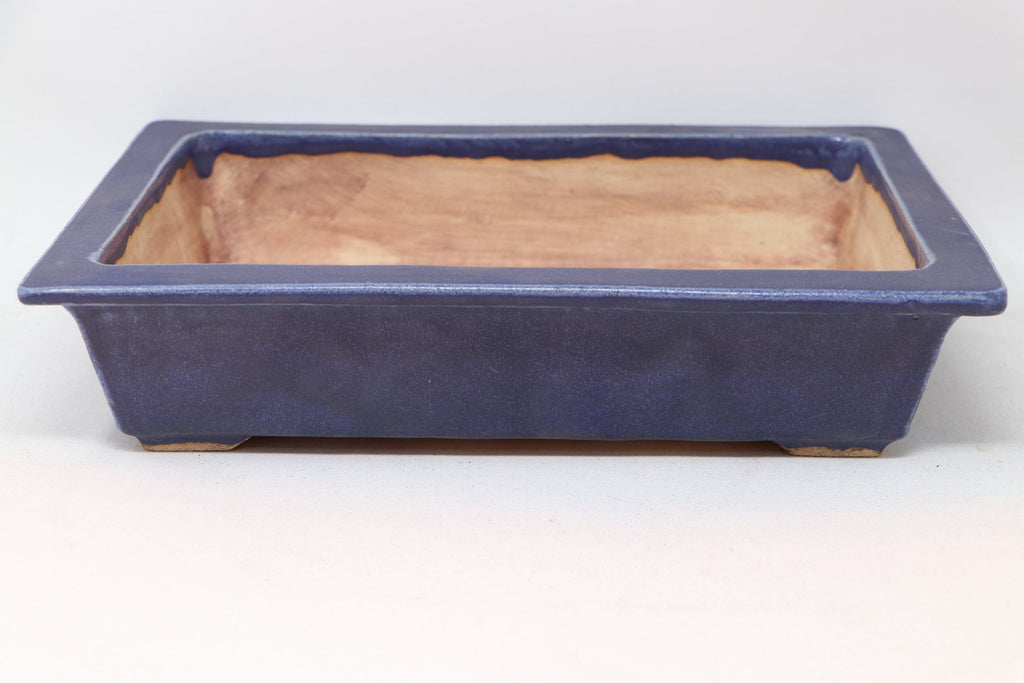 "John Cole Blue Glazed Rectangle Bonsai Pot - 12.5"" x 9.25"" x 2.5"""