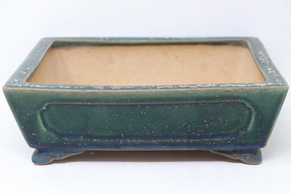 Japanese Tokoname Shouzan Kaneshou Ikkou Watanabe Kazuhiro Blue/Green Glazed Rectangle Bonsai Pot - 9.25