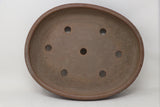"Sara Rayner Brown Oval Bonsai Pot - Textured - 15.5"" x 12.5"" x 3"""