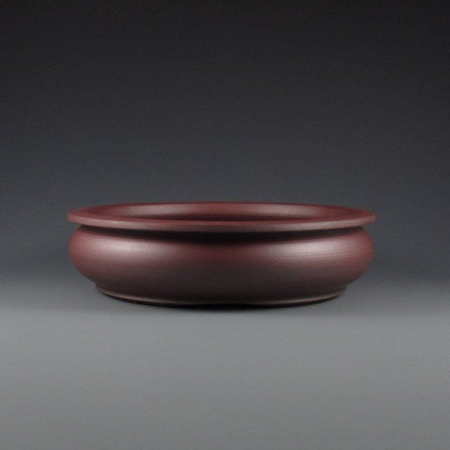 "Lynn August Red Clay Unglazed Round Bonsai Pot - 6.75"" x 2.25"""