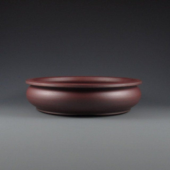 Lynn August Red Round Bonsai Pot - Unglazed - 6.75