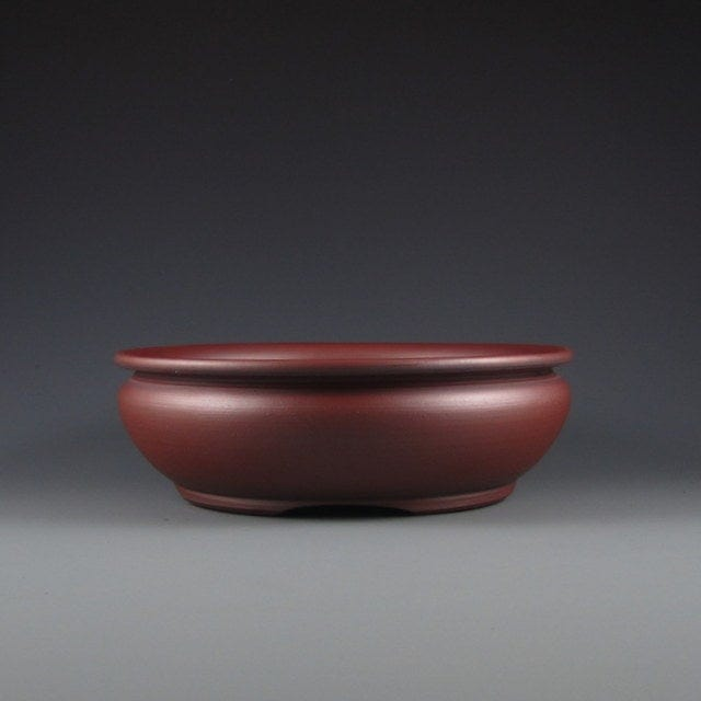 "Lynn August Red Round Bonsai Pot - Unglazed - 7.75"" x 7.75"" x 2"""