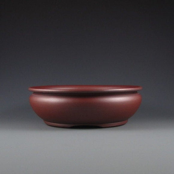 Lynn August Red Round Bonsai Pot - Unglazed - 7.75