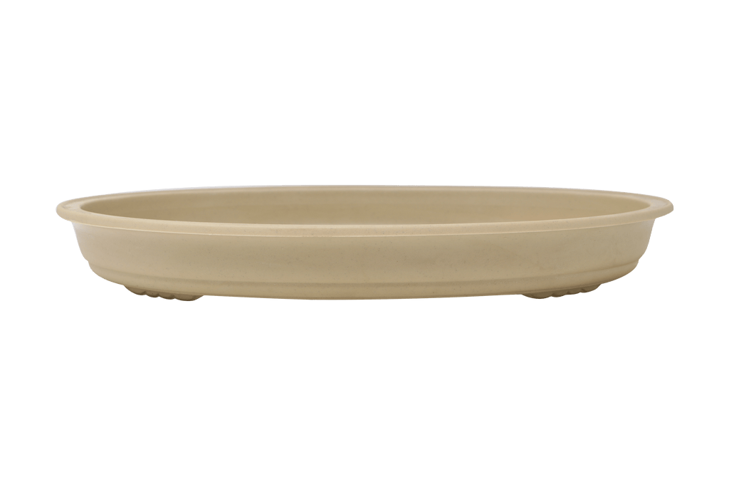 "Tan Oval High Impact Polystyrene Plastic Bonsai Pot - 17"" x 12"" x 2"""