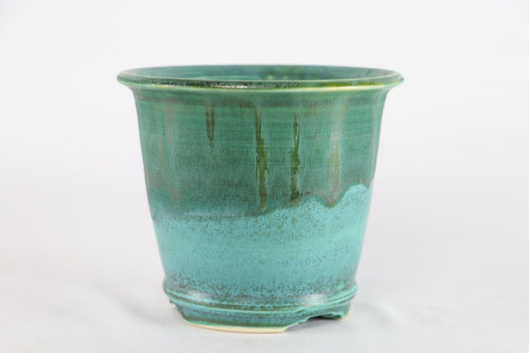 Sam Miller Teal Blue Glazed Round Bonsai Pot - 5.5