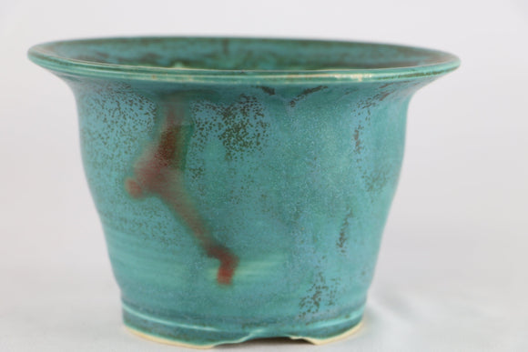 Sam Miller Teal Blue Glazed Round Bonsai Pot - 6