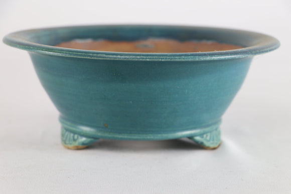 Sam Miller Teal Blue Glazed Round Bonsai Pot - 8