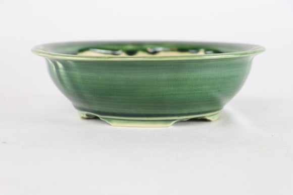 Sam Miller Green Glazed Round Bonsai Pot - 6.75