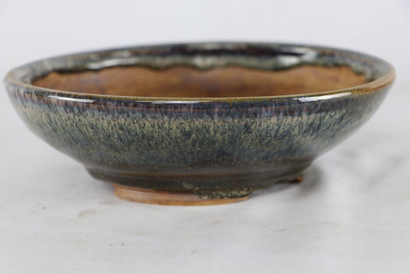 Sam Miller Dark Blue Glazed Round Bonsai Pot - 7.75