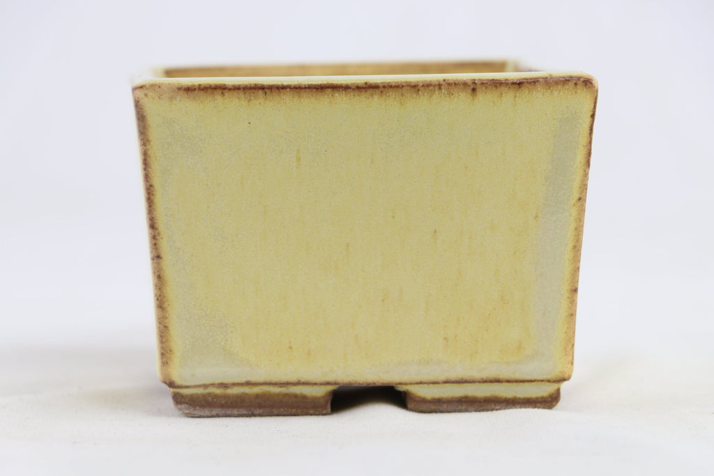 "Ross Adams Cream Glazed Square Bonsai Pot - 4"" x 3"""
