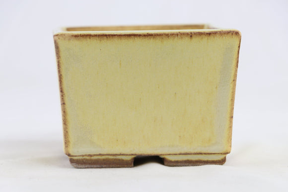 Ross Adams Cream Glazed Square Bonsai Pot - 4