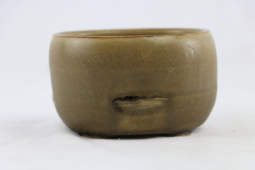 "Ross Adams Olive Green Glazed Round Bonsai Pot - 4.25"" x 2.75"""