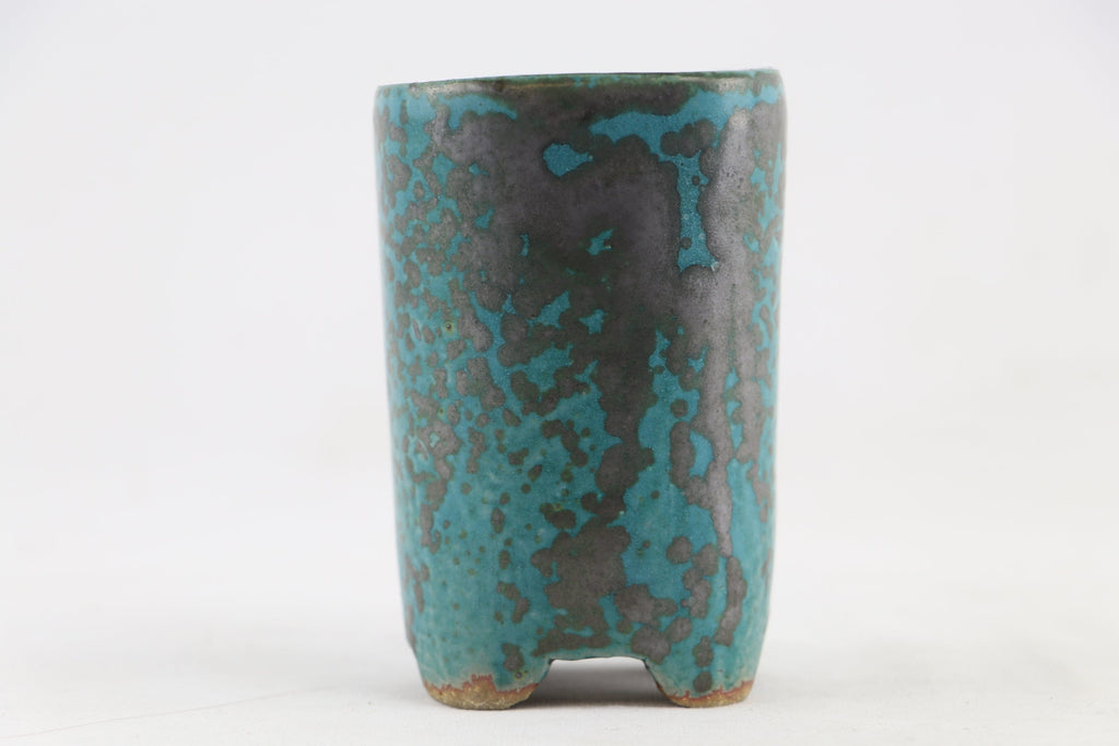 "Ross Adams Teal Glazed Round Bonsai Pot - 2.75"" x 4.5"""
