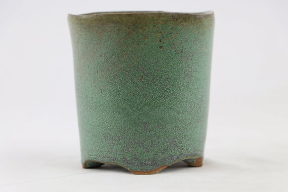 Ross Adams Green/Blue Glazed Round Bonsai Pot - 3.5