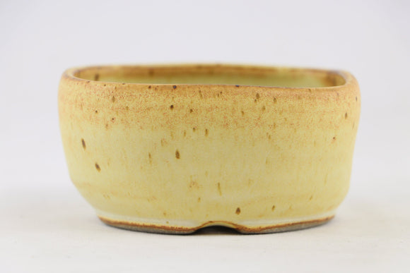 Ross Adams Cream Glazed Round Bonsai Pot - 4.5