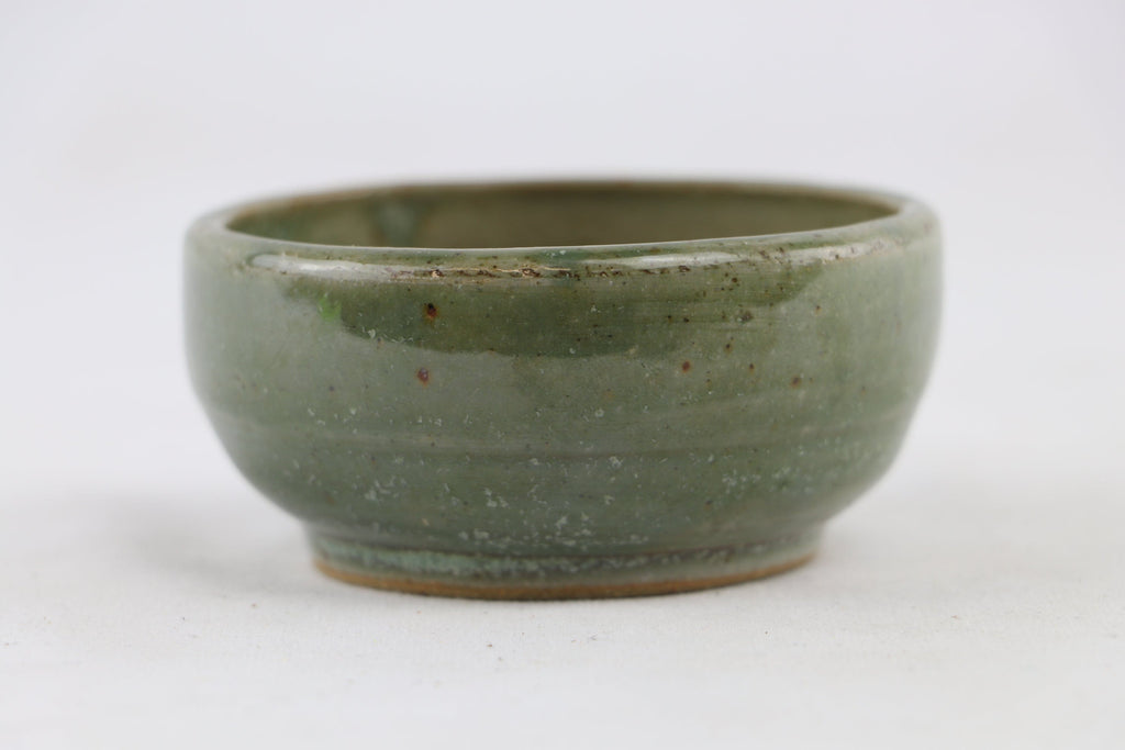 "Ross Adams Green Glazed Round Bonsai Pot - 3.25"" x 1.5"""